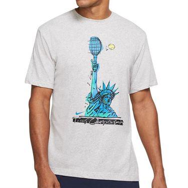 Nike Court Dri Fit Tee Shirt Mens Grey Heather DJ2783 050