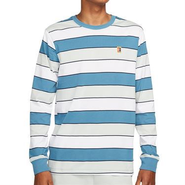 Nike Court EMB Stripes Long Sleeve - Rift Blue