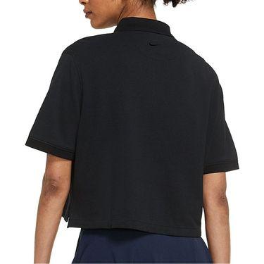 Nike Polo Crop Top Womens Black/Brilliant Orange DJ4942 010