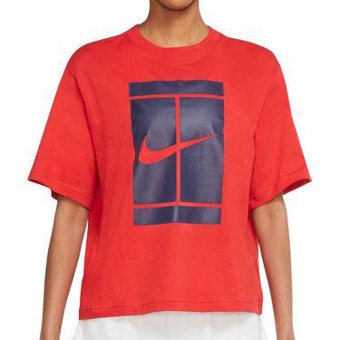 Nike Court Tee Shirt Womens University Red DJ6241 657