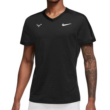 Nike Court Dri Fit Advantage Rafa Crew Shirt Mens Black/Metallic Silver DM4267 010