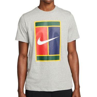 Nike Court Tee Shirt Mens Dark Grey Heather DM8424 063
