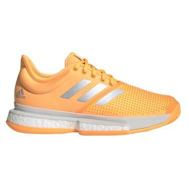 adidas Sole Court Boost Womens Tennis Shoe - Flash Orange/White/Grey One