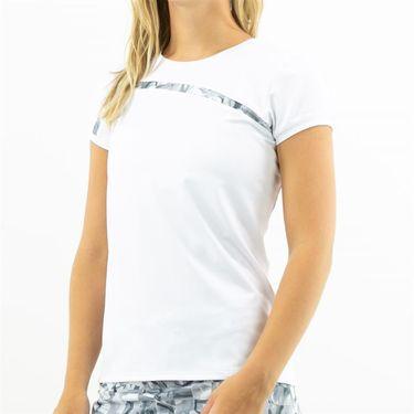 Inphorm Graphite Daphne Short Sleeve Top Womens White/Graphite F19013 0145