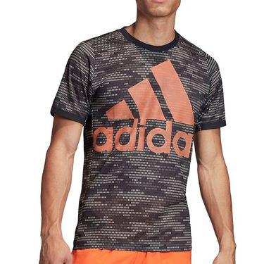 adidas Primeblue Logo Tee Shirt Mens Black/True Orange FJ3449