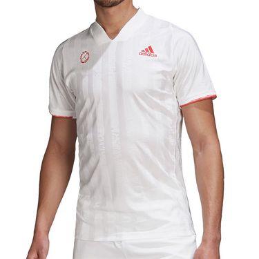 adidas Freelift Engineered Tee Shirt Mens White/Scarlet FR4317