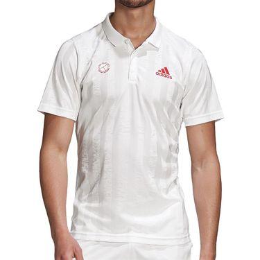 adidas Freelift Engineered Polo Shirt Mens White/Scarlet FR4318