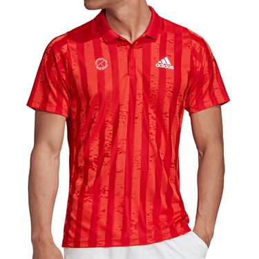 adidas Freelift Engineered Polo Shirt Mens Scarlet/White FT5810