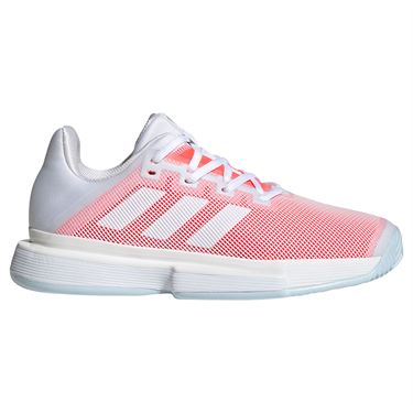 adidas SoleMatch Bounce Womens Tennis Shoe White/Signal Pink FU8126