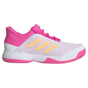 adidas Adizero Club Junior Tennis Shoe White/Acid Orange/Screaming Pink FX1481