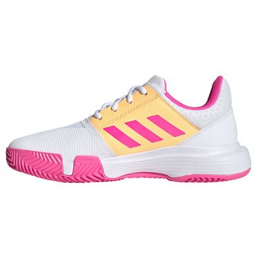 adidas CourtJam Junior Tennis Shoe White/Screaming Pink/Acid Orange FX1490