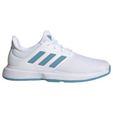 adidas GameCourt Mens Tennis Shoe White/Hazy Blue/Halo Blue FX1552