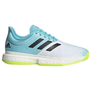 adidas SoleCourt Primeblue Mens Tennis Shoe White/Core Black/Solar Yellow FX1729