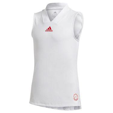 adidas Girls Tennis Match Tank White/Scarlet GE4818