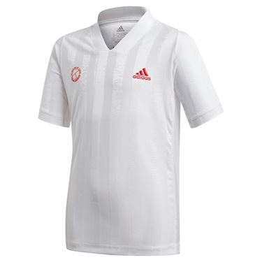 adidas Boys Freelift Tennis T-Shirt White/Scarlett GE4820