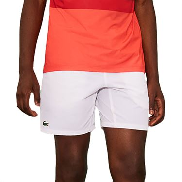 Lacoste Novak Ombre Waistband Short Mens White/Ladybird Cherry Red GH6906 WE0