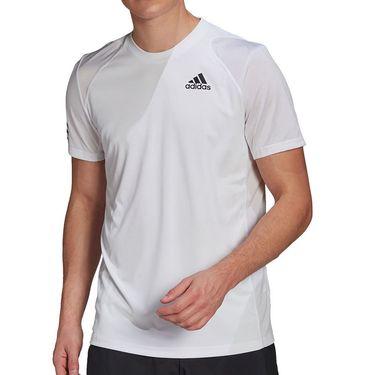 adidas Club 3 Stripe Tee Shirt Mens White/Black GL5401