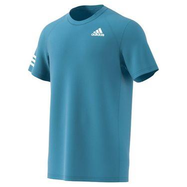 adidas Club 3 Stripe Tee Shirt Mens Hazy Blue/White GL5404