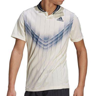 adidas Graphic Polo Shirt Mens Cream White/Crew Navy GP9581