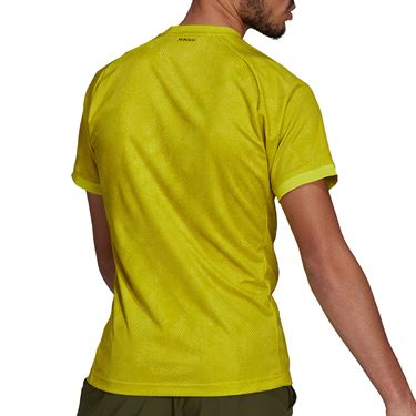 adidas Freelift Tee Shirt Mens Acid Yellow/Wild Pine/White GQ2221