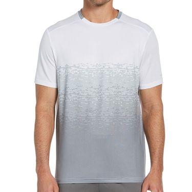 Grand Slam Fade Out Textured Print Crew Shirt Mens Bright White GSKFA000 100