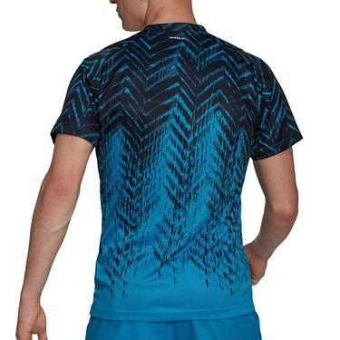 adidas Tennis Freelift Printed Tee Shirt Mens Sonic Aqua/Black GT7817