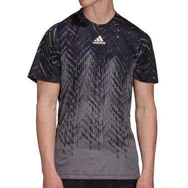 adidas Tennis Freelift Printed Tee Shirt Mens Grey Five GT7819