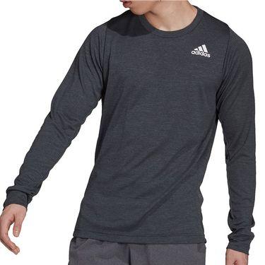adidas Tennis Freelift Long Sleeve Shirt Mens Dark Grey Heather/White GT7844