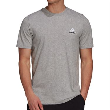 adidas Tennis Graphic Logo Tee Shirt Mens Medium Grey Heather GU8855