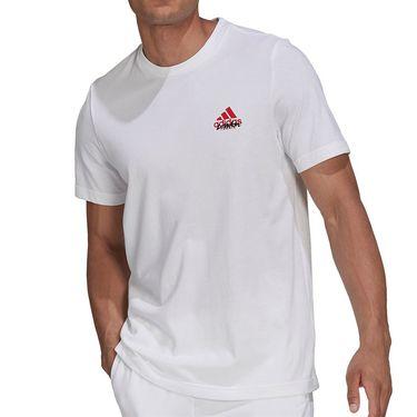 adidas Tennis Graphic Logo Tee Shirt Mens White GU8856