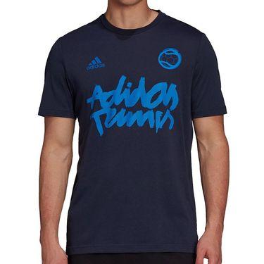adidas Tennis Graphic Logo Tee Shirt Mens Legend Ink GU8858