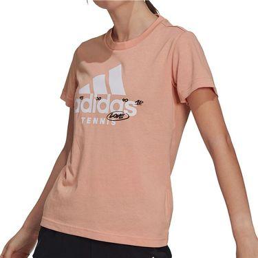 adidas Tennis Graphic Logo Tee Shirt Womens Ambient Blush GU8860