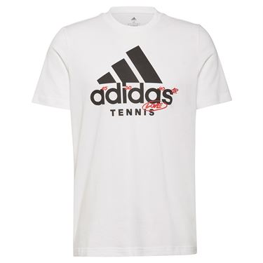 adidas Tennis Graphic Logo Tee Shirt Mens White GU8864