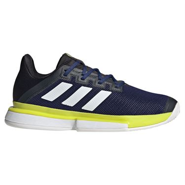adidas Sole Match Bounce Mens Tennis Shoe Victory Blue/White/Acid Yellow GY7645