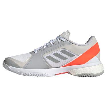 adidas Stella Court Womens Tennis Shoe White/Silver Metallic/Solar Red GZ8493