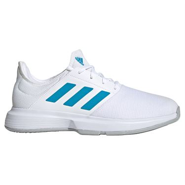 adidas Game Court Mens Tennis Shoe White/Sonic Aqua/ Grey Two GZ8514