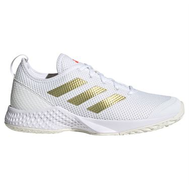 adidas Court Control Womens Tennis Shoe White/Gold Metallic/Solar Red H00942