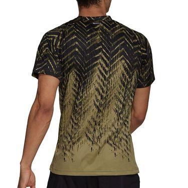 adidas Tennis Freelift Printed Tee Shirt Mens Orbit Green H31121