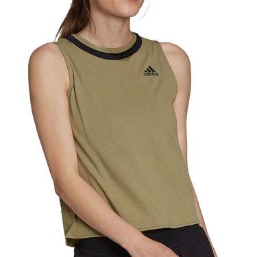 adidas Club Knotted Tennis Tank Womens Orbit Green/Black H33704