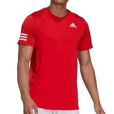 adidas Club 3 Stripe Tennis Tee Shirt Mens Vivid Red/White H33751