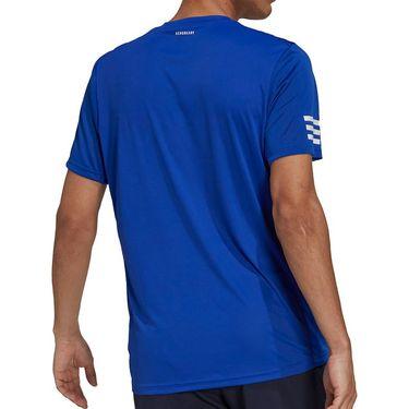 adidas Club 3 Stripe Tennis Tee Shirt Mens Bold Blue/White H34690