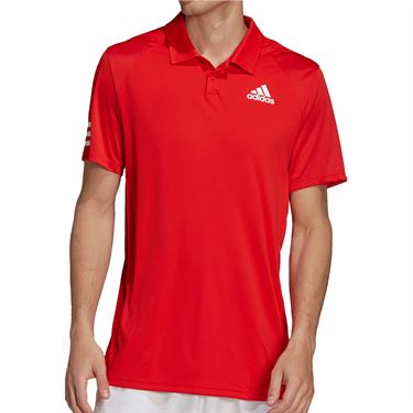 adidas Club 3 Stripe Tennis Polo Shirt Mens Vivid Red/White H34698