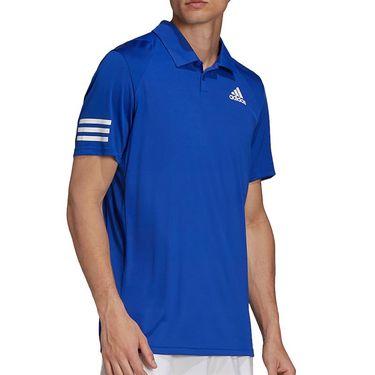 adidas Club 3 Stripe Tennis Polo Shirt Mens Bold Blue/White H34699
