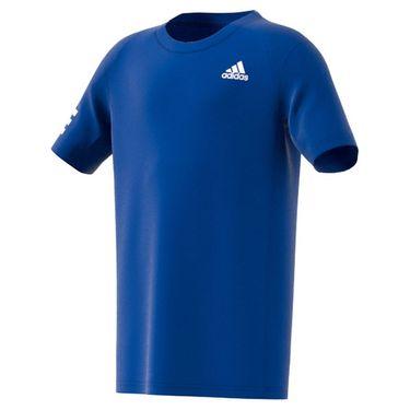 adidas Boys Club 3 Stripe Tennis Tee Shirt Bold Blue/White H34768