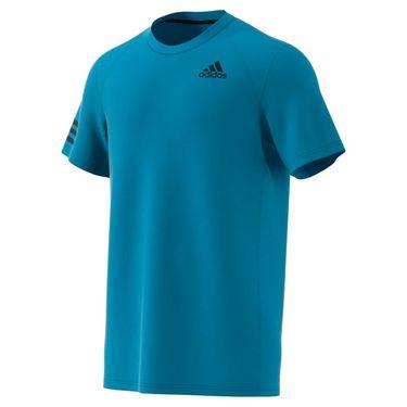 adidas Club 3 Stripe Tennis Tee Shirt Mens Sonic Aqua/Black H45416