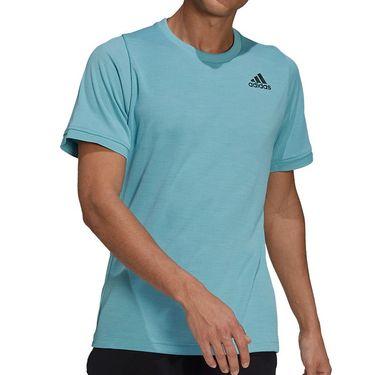 adidas Tennis Freelift Tee Shirt Mens Mint Tone/Black H50278