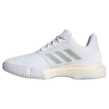 adidas Court Jam Bounce Womens Tennis Shoe White/Silver Metallic/Solar Red H67702