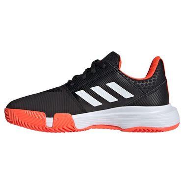 adidas Court Jam Junior Tennis Shoe Core Black/White/Solar Red H67972