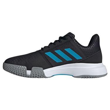 adidas Court Jam Bounce Mens Tennis Shoe Core Black/Sonic Aqua/White H68893