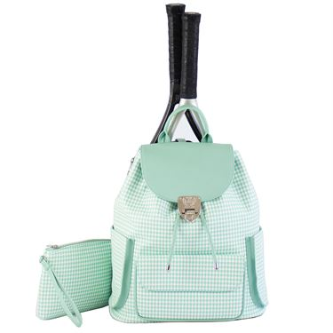 Court Couture Hampton Houndstooth Seafoam Tennis Backpack - Green